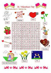 English Worksheet: Valentine´s Day wordsearch