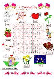 English Worksheet: Valentine´s Day wordsearch