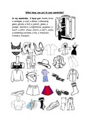 English Worksheet: What have you got in your wardrobe?