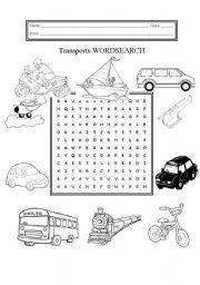 English Worksheet: Transports Wordsearch