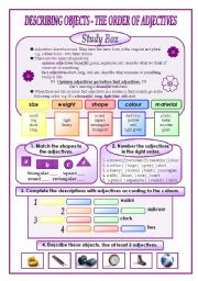 English Worksheet: The order of adjectives (describing objects)