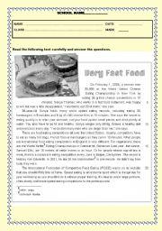 English Worksheet: Test - Very fast food