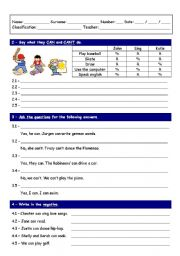 English Worksheet: Worksheet on verb