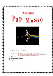 English Worksheets: WEBQUEST:  THE HISTORY OF POP MUSIC