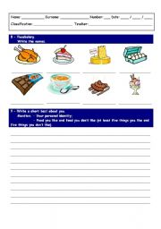 English Worksheets: Food labeling and writing exercise