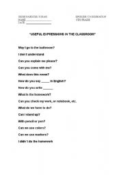 English Worksheets: useful expressions in class