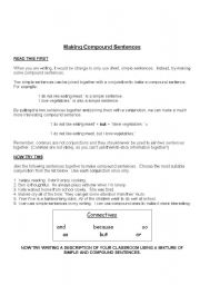 English Worksheet:  compound    sentences    many  more