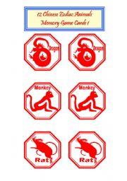 English Worksheet: 12 Chinese zodiac Animals -Memorty Game Cards 1/2