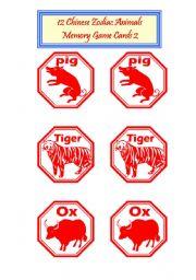 English Worksheet: 12 Chinese zodiac Animals -Memorty Game Cards 2/2