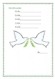 English Worksheets: Peace poem