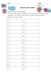Printable Number Names Charts