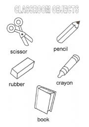 English worksheet: Classroom objects vocabulary