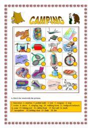 English Worksheet: Camping -Matching