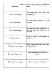 English Worksheet: Matching game with phrasal verbs