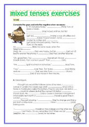 Mixed Tenses Worksheets moreover Simple Present Tense Verbs Worksheets ...