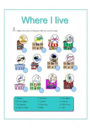 where i live places activities there is there are 2 pages esl worksheet by les. Black Bedroom Furniture Sets. Home Design Ideas