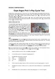 English Worksheets: Reading Comprehension - Cycle Tour