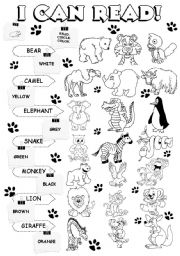 English Worksheets: I can read - wild animals (2/5)