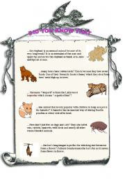 English Worksheets: DID YOU KNOW THAT...? part 2