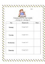 English worksheets: Homework Cover Sheet