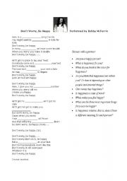 English Worksheets: Song: Don´t worry, be happy