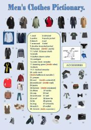 English Worksheet: MEN�S CLOTHES PICTIONARY