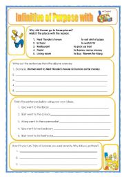 English Worksheet: Infinitive of Purpose with the Simpsons