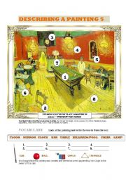 English Worksheet: DESCRIBING A PAINTING 5 (VAN GOGH) 3 PAGES: vocabulary, reading comprehension and writing guide