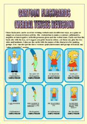 English Worksheets: VERBAL TENSES REVISION (with CARTOON CHARACTERS)24 FLASHCARDS: