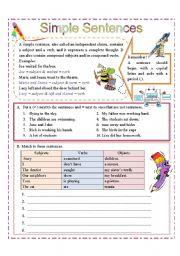 English Worksheet: Simple Sentences