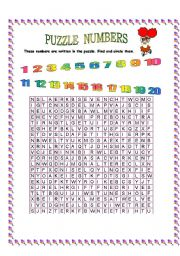 English worksheet: puzzle numbers