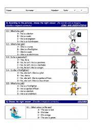 English Worksheets: American evaluation worksheet look-alike - part 3 of 3