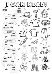 English Worksheet: I can read - clothes (3/5)