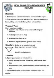 English Worksheets: How to Write a Newpaper report
