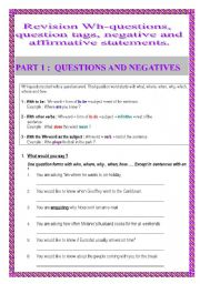 English Worksheets: Revision wh-questions, question tags, negative statements (6pages)