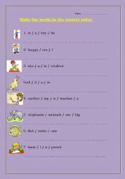 English worksheet: sentence arranging