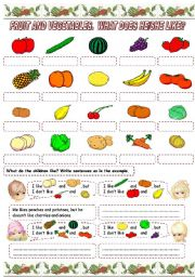 English Worksheet: FRUIT AND VEGETABLES. WHAT DOES HE/SHE LIKE? (2)