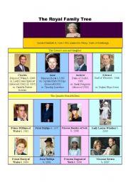 English Worksheet: The Royal Family tree