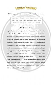 English Worksheets: The Queen of Crime: vocabulary on literature