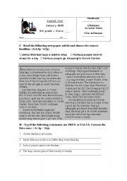 English Worksheet: Test Charity 8th grade