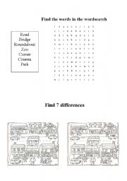 English Worksheets: Around town wordsearch and find the differences