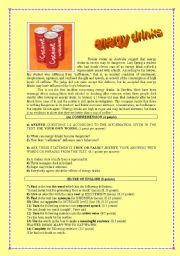 English Worksheet: ENERGY DRINKS