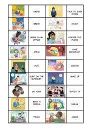 English Worksheet: memory game: actions
