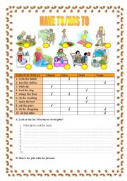 English Worksheet: Have to/has to - Housework