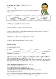 English Worksheets: Video lesson: Mr Bean at the Exam