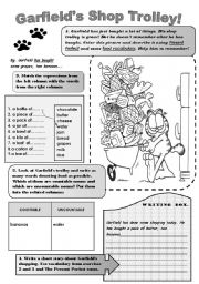English Worksheet: GARFIELDS SHOP TROLLEY! -fun vocabulary and grammar worksheet. Revision or practice of Present perfect ( What has Garfield bought?) and food vocabulary- countable and uncountable nouns.For upper-elementary students