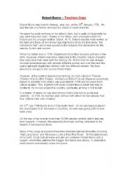 English Worksheets: Robert Burns Information Gap