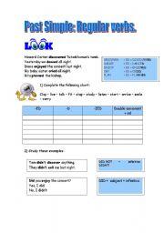 English worksheet: Past simple, regular verbs