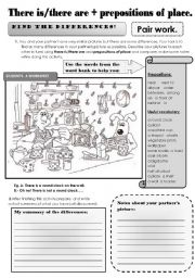 English Worksheet: There is /there are + prepositions of place -pair work speaking and writing activity. Find the differences! 2 pages.