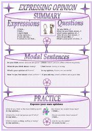 English Worksheets: EXPRESSING OPINION